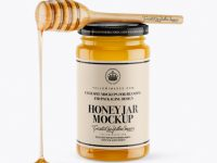 Honey Jar With Spoon Mockup - Front View (High-Angle Shot)