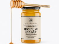 Honey Jar With Spoon Mockup - Front View