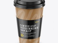 Paper Coffee Cup With Sleeve Mockup - Front View (High-Angle Shot)