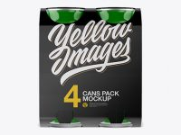Carton Carrier W/ 4 Glossy Cans Mockup - Front View