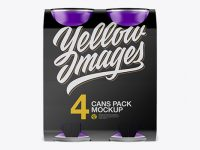 Carton Carrier W/ 4 Matte Cans Mockup - Front View