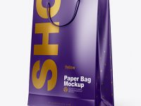 Glossy Paper Shopping Bag Mockup - Half Side View
