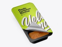 Metallic Plastic Container With Peanut Paste Mockup - Half Side View