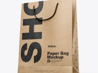 Kraft Paper Shopping Bag Mockup - Half Side View (Hero Shot)