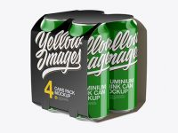 Carton Carrier W/ 4 Glossy Cans Mockup - Half Side View (High-Angle Shot)