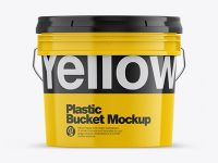 Glossy Plastic Bucket Mockup - Front View