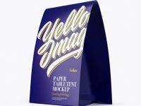 Glossy Paper Table Tent Mockup - Half Side View