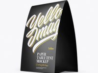 Matte Paper Table Tent Mockup - Half Side View