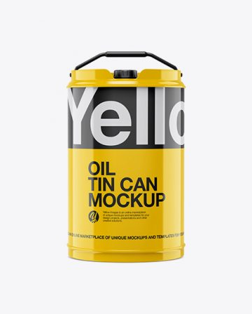 Glossy Oil Tin Can Mockup - Front View