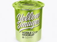 Metallic Noodle Cup With Foil Lid Mockup (High-Angle Shot)