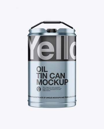 Matte Metallic Oil Tin Can Mockup - Front View