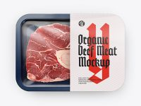 Plastic Tray With Beef Meat Mockup - Top View