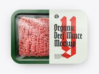 Plastic Tray With Beef Mince Mockup - Top View