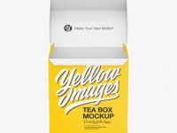 Opened Tea Paper Box Mockup – Front View