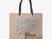 Kraft Bag with Raised Up Handles Mockup - Front & Top Views