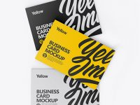 Three Business Cards Mockup - Top View