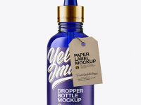 50ml Blue Glass Dropper Bottle W/ Kraft Label Mockup