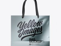 Metallic Bag with Raised Up Handles Mockup - Front & Top Views