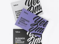 Three Textured Business Cards Mockup - Top View