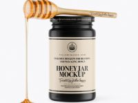 Ceramic Honey Jar With Spoon Mockup - Front View