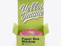 Opened Paper Box With Donut Mockup - Front View (High-Angle Shot)