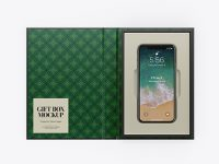 Glossy Gift Box With Apple iPhone X Mockup - Top View