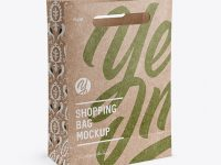 Kraft Paper Shopping Bag Mockup - Halfside View (High Angle Shot)