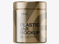 Plastic Jar in Metallic Shrink Sleeve Mockup