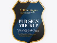 Textured Pub Sign Mockup - Front View
