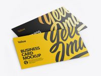 Two Business Cards Mockup - Half Side View (High-Angle Shot)