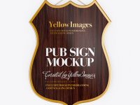 Wooden Pub Sign Mockup - Front View