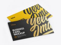 Two Textured Business Cards Mockup - Half Side View (High-Angle Shot)