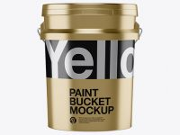 5L Metallic Paint Bucket Mockup - Front View
