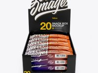 20 Snack Bars Box Mockup - Front View (High-Angle Shot)