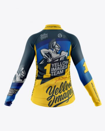 Women's Full-Zip Cycling Jersey With Long Sleeve Mockup - Back View