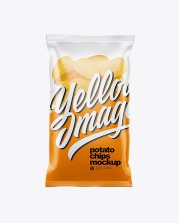 Clear Plastic Bag With Corrugated Potato Chips Mockup