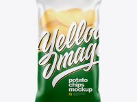 Matte Plastic Bag With Potato Chips Mockup