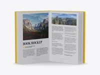 Opened Book W/ Matte Cover Mockup - Front View (High-Angle Shot)