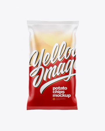 Frosted Plastic Bag With Corrugated Potato Chips Mockup