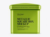 Metallic Square Tin Box Mockup