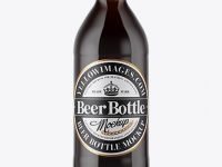 330ml Dark Amber Beer Bottle Mockup