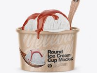 Kraft Ice Cream Cup Mockup - Front View (High-Angle Shot)