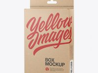 Kraft Box with Hang Tab Mockup - Half Side View