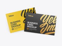 Two Textured Business Cards Mockup - Front View