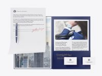 Matte Folder with Papers, Business Cards and Pen Mockup
