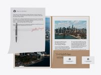 Kraft Folder with Papers, Business Cards and Pen Mockup