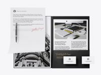 Leather Folder with Papers, Business Cards and Pen Mockup