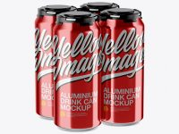 Pack with 4 Metallic Cans with Plastic Holder Mockup - Half Side View (High-Angle Shot)