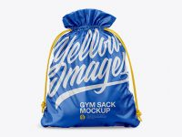 Glossy Gym Sack Mockup - Front View