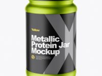 Metallic Protein Jar Mockup (High-Angle Shot)
